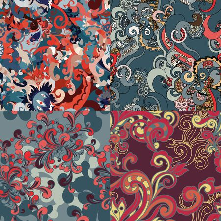 luxuriate: Set of abstract floral seamless patterns