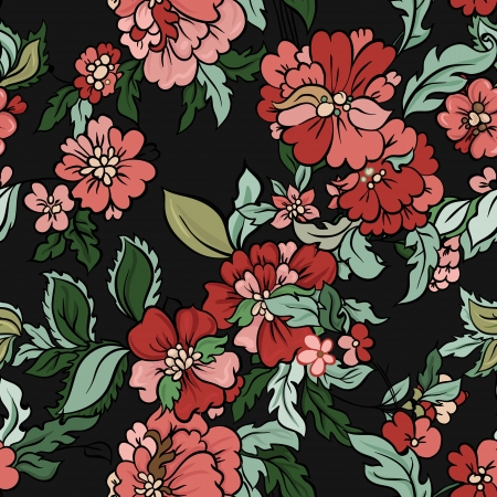 flower line: beautiful  floral  seamless background with flowers and leaves. Illustration