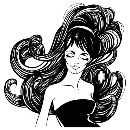 visage: la moda y bella mujer con el pelo largo y rizado. Vectores