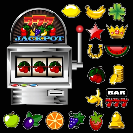 A slot fruit machine with cherry winning on cherries and Various slot fruit machine icons  Illustration