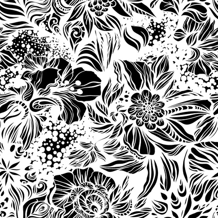 Fantasy abstract floral seamless pattern Vettoriali