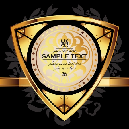 Golden royal lable on black background. Stock Vector - 14567639