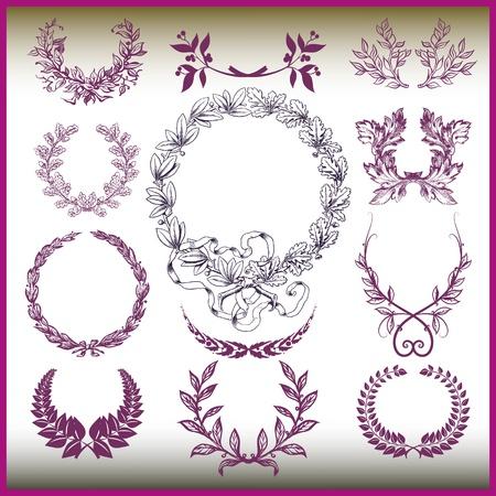 月桂樹の花輪のベクトルを設定  イラスト・ベクター素材