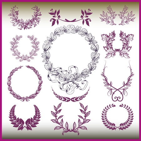 vector set of laurel wreaths  Vector