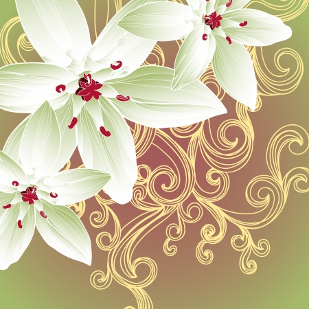 Abstract vector background with flowers. Vector