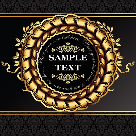 Golden royal lable on black background. Vector