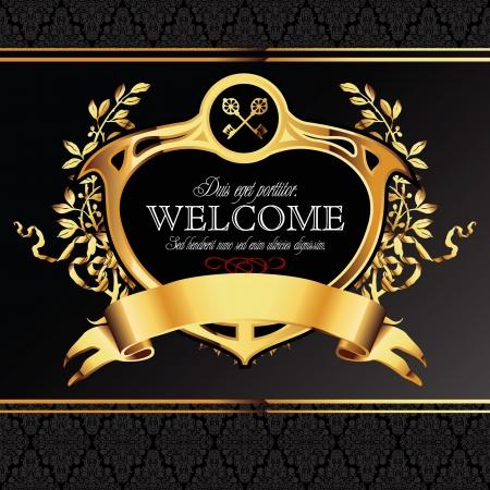 laureles: Vector Fondo decorativo con elementos ornamentales de oro