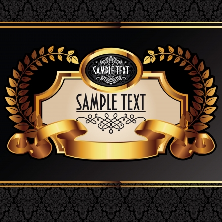 Golden royal lable on black background. Stock Vector - 14567749