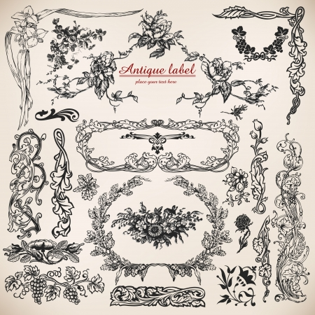 victorian style: set of calligraphic design elements and page decoration. Illustration