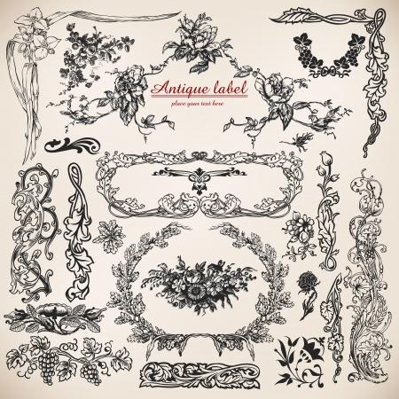set van kalligrafische design elementen en pagina-decoratie.