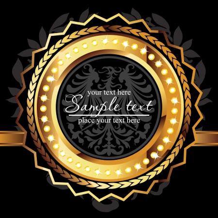 ornamental shield: Golden royal lable on black background.
