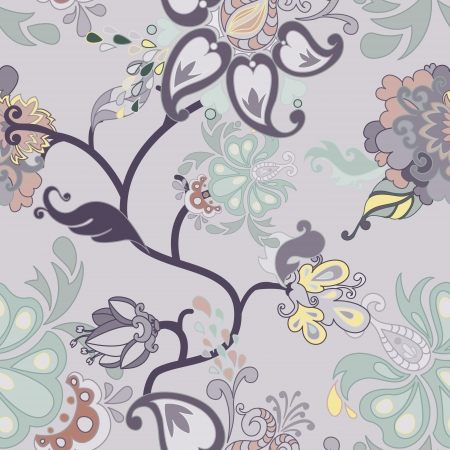 Vector retro floral seamless pattern. Illustration