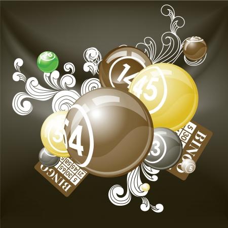 bingo: Retro composición de las bolas de bingo o lotería y tarjetas.