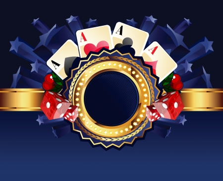 Casino gold-framed composition with cards, dice and cherries on blue star background Vector