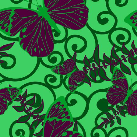 vector seamless background with swirls and butterflies. Vector