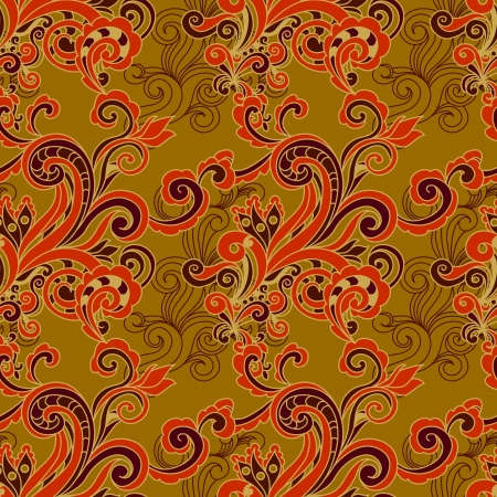 floral seamless background with swirls. Vector