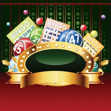 ビンゴまたは宝くじのボールとカード。