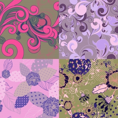 luxuriate: Set of abstract floral seamless patterns. Illustration