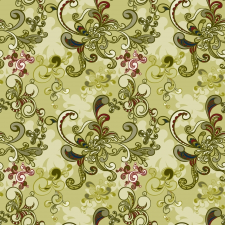 luxuriate: floral seamless background with swirls.