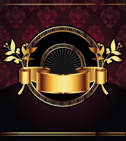 corona navidad: Vector Fondo decorativo ornamental con elementos de oro Vectores