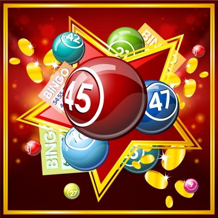 bingo: Bingo o lotería bolas y tarjetas. Vectores
