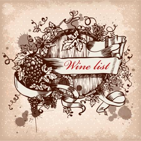 ワインはブドウと樽のラベルのデザイン。  イラスト・ベクター素材