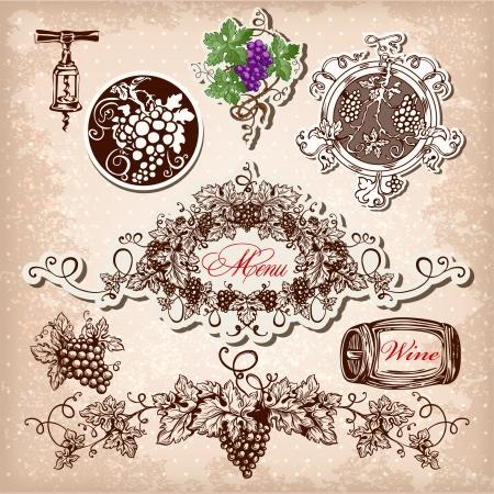 Hand getrokken set van wijn, druiven en wijn.
