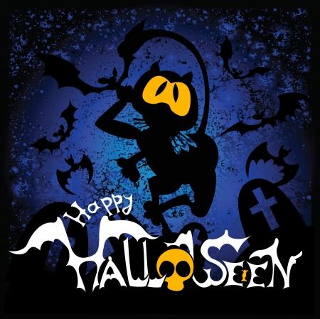 Halloween illustratie met zwarte kat en vleermuizen voor banners of uit te nodigen kaarten.