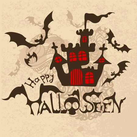 Halloween background with bats and haunted house. Vector