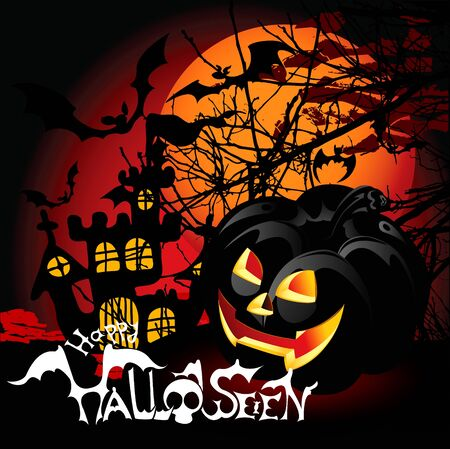 Halloween Background with haunted house, bats and pumpkin.