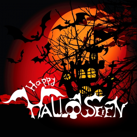 Halloween background with haunted house, bats and full moon. Vector