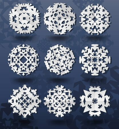 Christmas snowflakes on blue background. Vector