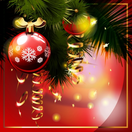 Christmas background with  christmas tree. Greetings card. Vector
