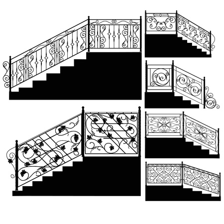 victorian fence: Wrought iron stairs railing. Illustration