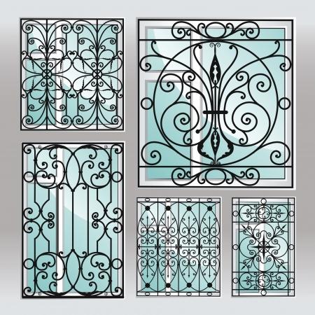 Set of iron window latticies. Illustration