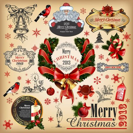 Christmas collection of calligraphic and typographic elements Vector