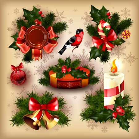 christmas tree set: collection of christmas items. Illustration