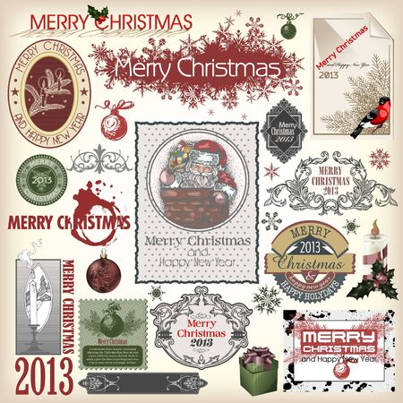 Set of vector Christmas designs and vintage new year labels Vector