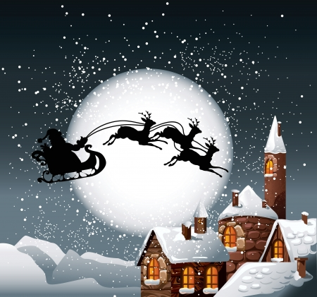 Christmas Illustration of Santa and his reindeer on full moon background with snowy town. Illustration