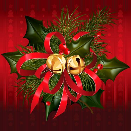 jingle: Christmas jingle bells with red ribbon, holly and pine branches