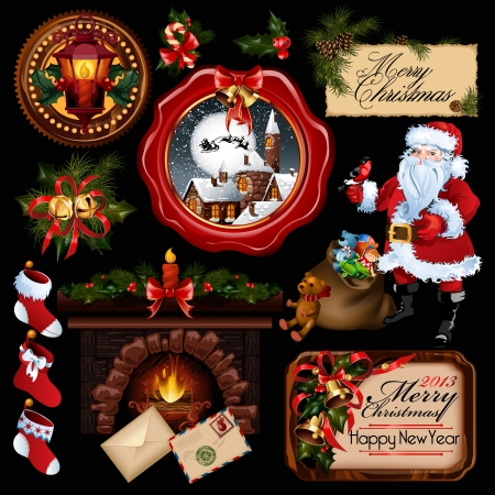 toy sack: Vector colecci�n. Todo sobre la Navidad tema. Vectores