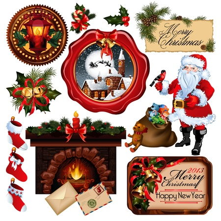 cartoon fireplace: Christmas collection