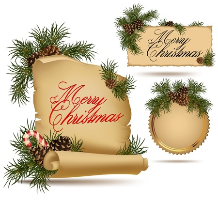 fir cone: Set of Christmas vintage scrolls and stickers