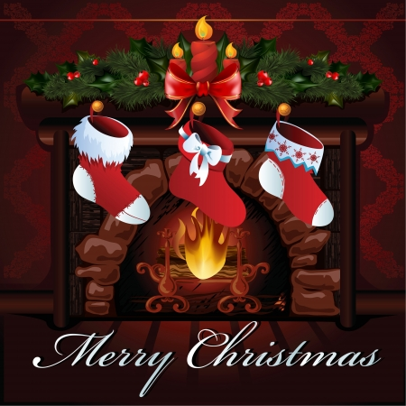 Christmas fireplace  illustration  Vector