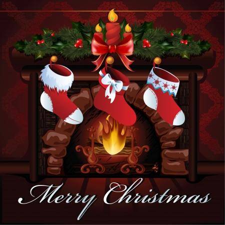 Navidad ilustración chimenea Foto de archivo - 16380011