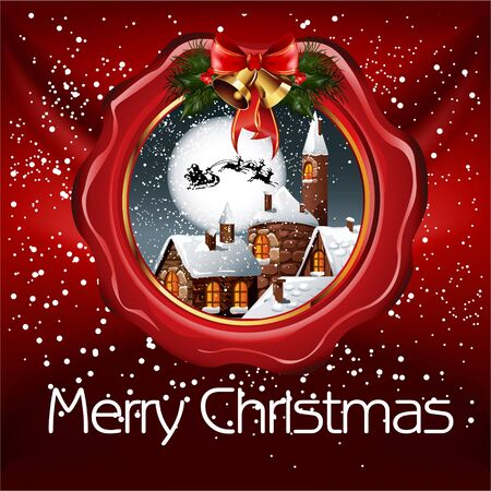 Illustratie van Kerstmis van lakzegel met kleine besneeuwde dorp, volle maan en santa Stock Illustratie