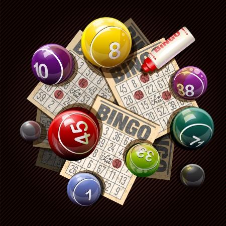 Retro bingo of loterij ballen en kaarten Stock Illustratie