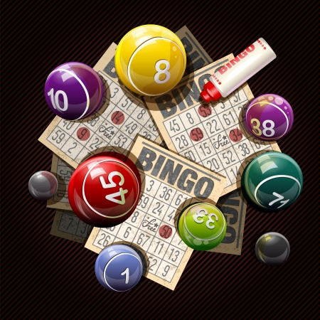 games of chance: Retro bingo or lottery balls and cards