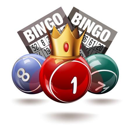 Royal Bingo of loterij ballen en kaarten Stock Illustratie