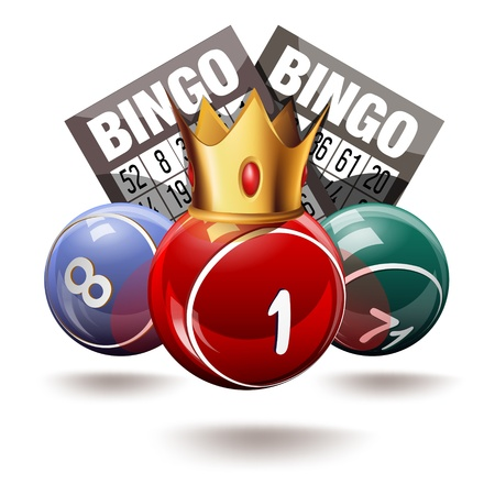 win money: Royal bingo or lottery balls and cards Illustration